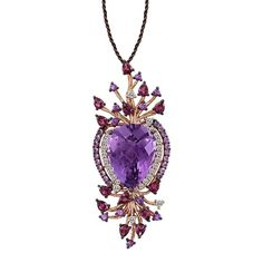 Levian Amethyst And 14K Strawberry Gold Pendant Necklace ($2,220) ❤ liked on Polyvore featuring jewelry, necklaces, amethyst rose gold, pendant necklaces, gold necklace, gold teardrop necklace, 14 karat gold necklace and gold jewelry set