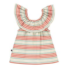 Pima Cotton Striped Ruffle Blouse-product