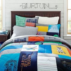 Burton Graphic Tee Quilt + Sham #pbteen  to finish off Noah's room now that he has everything else!