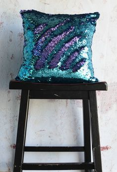 The Aqua Blue & Pretty Purple sequin pillow adds the perfect pop of color to your decor. And, this pillow is a favorite among kids of all ages! - Includes both Pillow cover + Pillow Insert - Premium p Little Mermaid Bedroom, Mermaid Room, Mermaid Pillow, My New Room, My Room, Girl Room, Aqua Blue, Purple, Sequin Pillow