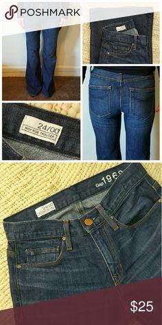 "GAP High Rise Trouser Flare Jeans GAP High Rise Trouser Flare Jeans. Size 24 / 00, 33.5"" inseam, 8"" rise, 12"" leg opening. EUC! GAP Jeans Flare & Wide Leg"