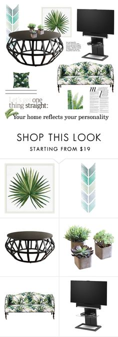 """""""Green Home"""" by evelynn-cole ❤ liked on Polyvore featuring interior, interiors, interior design, home, home decor, interior decorating, Pottery Barn, Tribecca Home, Dot & Bo and BDI"""