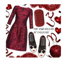 """""""Holiday style!"""" by pisces7 ❤ liked on Polyvore featuring Alice + Olivia, The Letter, Oscar de la Renta, red, sparkling and holidaystyle"""