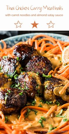 Thai Chicken Curry Meatballs are served over carrot noodles with coconut satay sauce. They are a crazy delicious and healthy dinner recipe that won't leave you feeling like you're missing out.