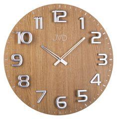 Hodiny | dřevěné | Designové obrovské velké dřevěné hodiny JVD HT075.1 (dub) | Klenoty - hodiny - diamanty Jindřich Budín - zlaté náušnice, náramky, řetízky, hodinky, hodinky, šperky, rádiem řízené