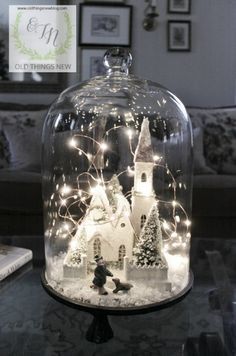 Winter Decor 019 Glass Christmas Decorations, Diy Christmas, Christmas Snow Globes, Winter Decorations, Christmas Store, Christmas Lanterns, Decorating With Christmas Lights, Christmas Centerpieces, Christmas Scenes