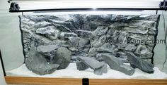 Grey natural rocks and 3D aquarium background from Aqua-Maniac.com - aquarium decoration setup. To order visit http://aqua-maniac.com