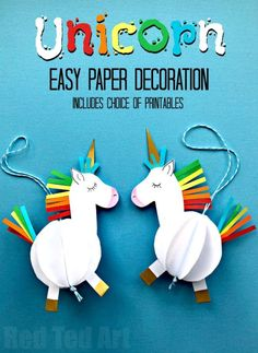 Easy DIY Unicorn Party Ideas - Creative DYI  3D Paper Unicorn - Kids Party Ideas for Birthdays - Unicorn Party Decor DYI Decoration - Throw A Unicorn Themed Party With These Cheap and Easy but Super Creative Projects - Unicorns Decorations for Parties With Rainbow, Glitter and Fun Colors - Banners, Signs, Cakes and Tabletop Decor for the Best Birthday Party Ever - Girls, Teens and Kids Love These Fun Crafts #birthdayparty #partyideas #unicorn #kidparty