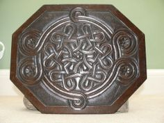 SUPERB 19thc  MAHOGANY ARTS & CRAFTS PANEL WITH CELTIC & FLORAL CARVINGS