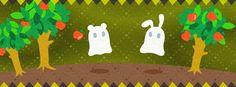 【facebook cover】『りんごの森で出会ったおばけたちですっ。ふわふわ空中移動できてうらやましいな~。』7/26