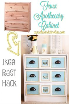 If you like the look of apothecary cabinets but not the price, this DIY is perfect.  Start with a basic Ikea Rast dresser, add a few details and you'll have your apothecary cabinet in no time.  #ad #hickoryhardware