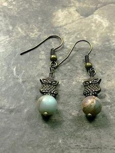 Brass owl earth jasper picasso earrings