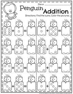 Penguin Addition Worksheets for Kindergarten Math. II