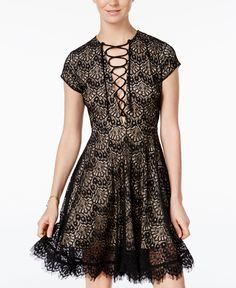 5dcdc295 XOXO Juniors' Lace-Up Lace Dress & Reviews - Dresses - Juniors - Macy's