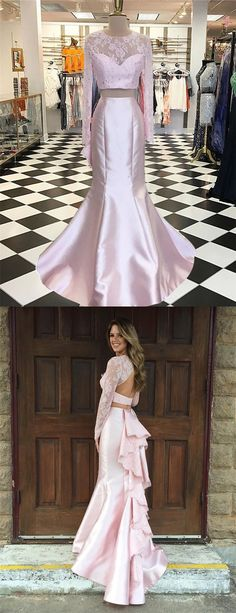 prom dresses 2017, 2 pieces long party dresses, mermaid lace evening gowns, mermaid prom dress with lace ruffles