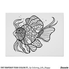 FAT FANTASY FISH COLOR IT YOURSELF POSTER H, 18x24