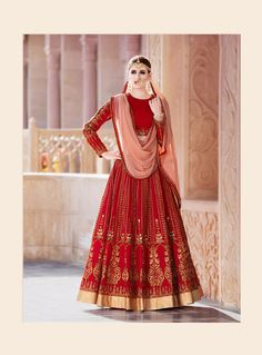 Red Silk A Line Lehenga Choli 96186
