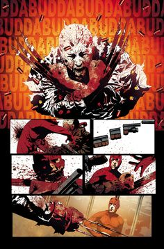 Old Man Logan cover, variant cover, and interior art by Andrea Sorrentino * Comic Book Pages, Comic Book Covers, Comic Book Characters, Marvel Characters, Comic Books Art, Comic Art, Book Art, Wolverine Old Man Logan, Wolverine Art