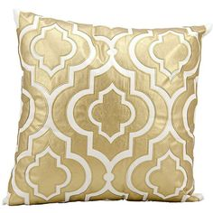 "Mina Victory Luminescence Gold 20"" Square Pillow (15 KWD) ❤ liked on Polyvore featuring home, home decor, throw pillows, pillows, home textiles, gold home accessories, square throw pillows, floral home decor, floral throw pillows and gold accent pillows"