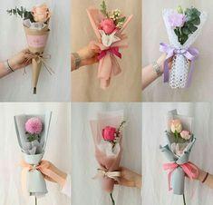Single Flower Bouquet, Flower Bouquet Diy, Bouquet Wrap, Gift Bouquet, Boquette Flowers, How To Wrap Flowers, Paper Flowers, Flower Box Gift, Flower Boxes