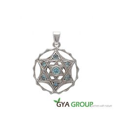 A stunning 925 Sterling Silver Magen David pendant with Blue Topaz gemstones by globalgiftshop on Etsy