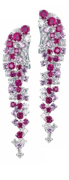 Mimosa Earrings in White Gold with Diamonds and Rubies by Damiani