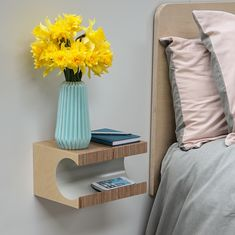 Floating bedside table in birch plywood with light grey inset Modern Shelving, Rustic Shelves, Wooden Shelves, Window Shelves, Plant Shelves, Shelf, Diy Nightstand, Floating Nightstand