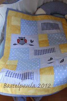 Paula s Haus Owl owl Quilt Baby, Owl Baby Quilts, Cot Quilt, Baby Quilt Patterns, Patchwork Baby, Easy Quilts, Small Quilts, Children's Quilts, Baby Set