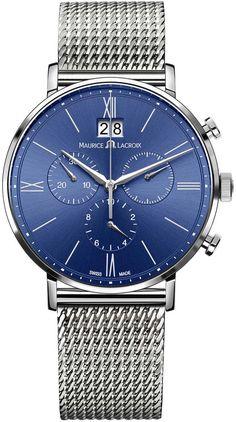Maurice Lacroix Eliros Blue Dial Chronograph Men's Watch EL1088-SS002-410 - Eliros - Maurice Lacroix - Shop Watches by Brand - Jomashop