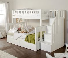 Atlantic Furniture Columbia Twin over Full Stairway Bunk Bed from White Bunk Beds With Stairs Twin Over FullWhite Bunk