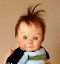 "Miniature OOAK polymer CLAY sculpt BABY boy ART doll NEWBORN ~ Dawn McLeod 8"""