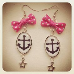 Old School Pin Up Anchor earrings pink bow by MissCats on Etsy, €16.00