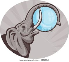 vector illustration of an african elephant with sphere ball done in retro woodcut style set inside oval  #elephant #retro #illustration
