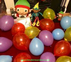 The elves filled our living room with balloons, the kids had to pop them to see which ones had sweets hidden inside. The Elf, Elf On The Shelf, Woodland Elf, Balloon Games, Father Christmas, Magical Creatures, Family Traditions, Easter Bunny, Elves