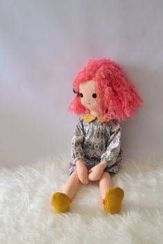 Handmade Rag Doll with Pink Hair and Wardrobe by Phoebe&Egg