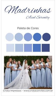 Modelo Paleta Madrinhas Azul Serenity Best Wedding Colors, Wedding Color Schemes, Wedding Ceremony, Our Wedding, Dream Wedding, Baby Blue Weddings, Bridal Gifts, Marry Me, Wedding Bouquets