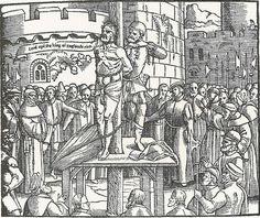 William Tyndale au bûcher, s'écriant « Lord, open the King of England's eyes » (bois gravé de l'édition de 1563 des Actes et Monuments de John Foxe).