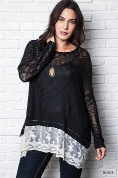 Lace Hem Sweater Top Plus Size - Black from Gypsy Outfitters -  Boho Luxe Boutique