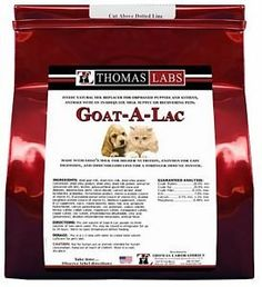 Thomas Laboratories Goat-A-Lac Supplement Powder for Pets, 4-Pound Great source of protein; fat; vitamins; minerals and electrolytes. Can be used for puppies and kittens; as well as adult dogs and cats. All natural ingredients.  #ThomasLaboratories #PetProducts