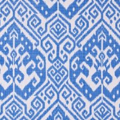 Blue Ikat Cotton-Blend Woven
