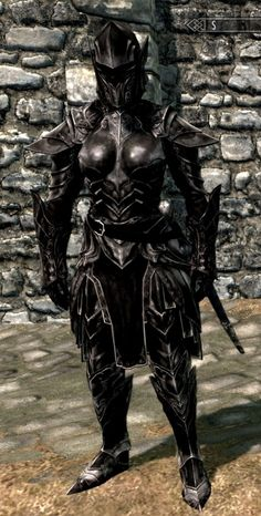 Now Lydia, my lady serv...I mean shieldmaiden lol, is decked out in full Ebony Armor like you see here, admittedly, doesn't help much