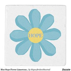 Blue Hope Flower Limestone Coaster