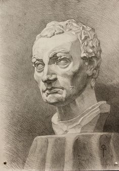 Study drawing of the plaster head of the Gattamelata
