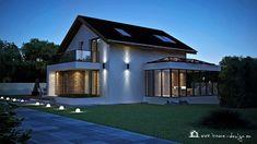 PROIECT CASĂ MICĂ CU MANSARDĂ | House Design Modern Exterior House Designs, Modern Design, A Frame Cabin, Design Case, Home Fashion, Simple Designs, Bali, House Plans, Mansions