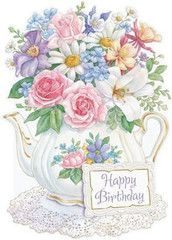 Carol Wilson Stationery Flowers in Teapot Birthday Greeting Card - Roses And Teacups