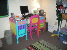 Funky Hand Painted Furniture | Funky Painted Desk - JUNKMARKET Style