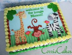 New Baby Animals Cake Jungle Theme Ideas Safari Birthday Cakes, Jungle Theme Cakes, Jungle Theme Birthday, Animal Birthday, Jungle Safari Cake, 2nd Birthday, Baby Shower Sheet Cakes, Safari Baby Shower Cake, Baby Shower Cakes For Boys
