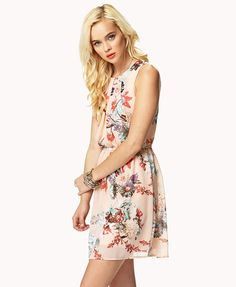 Pleated Floral Chiffon Dress