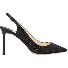 Jimmy Choo Women 85mm Erin Glittered Sling Back Pumps (9.152.210 IDR) ❤ liked on Polyvore featuring shoes, pumps, black, high heel slingback pumps, black glitter pumps, black glitter shoes, black pointed toe pumps and jimmy choo shoes