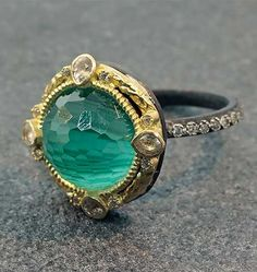 Armenta Old World Midnight Malachite/Topaz Ring - 18K Yellow Gold and Oxidized Sterling Silver 12mm Round Malachite/Sky Blue Topaz Doublet set in Gold and White Sapphire Bezel, on a Diamond Eternity Band, Size 6.5
